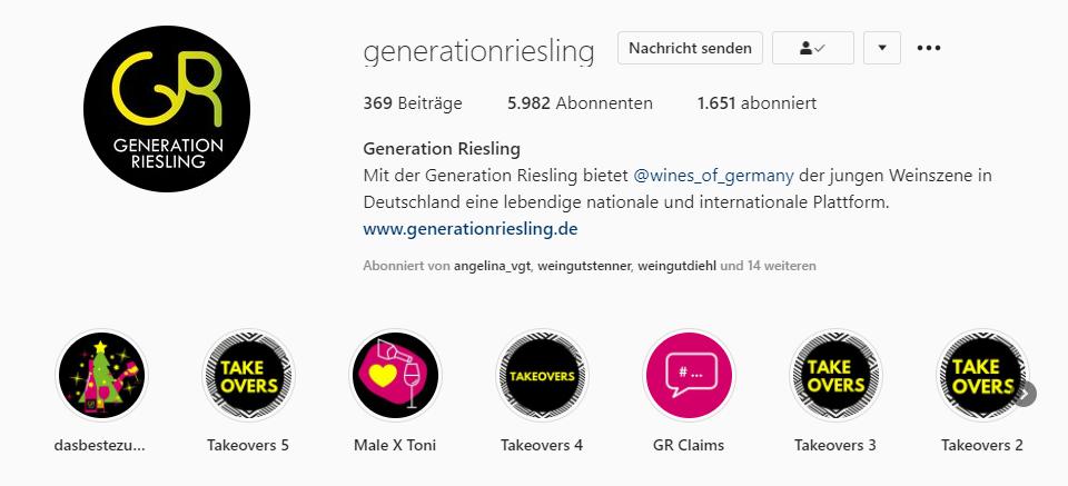 Instagramprofil der Generation Riesling