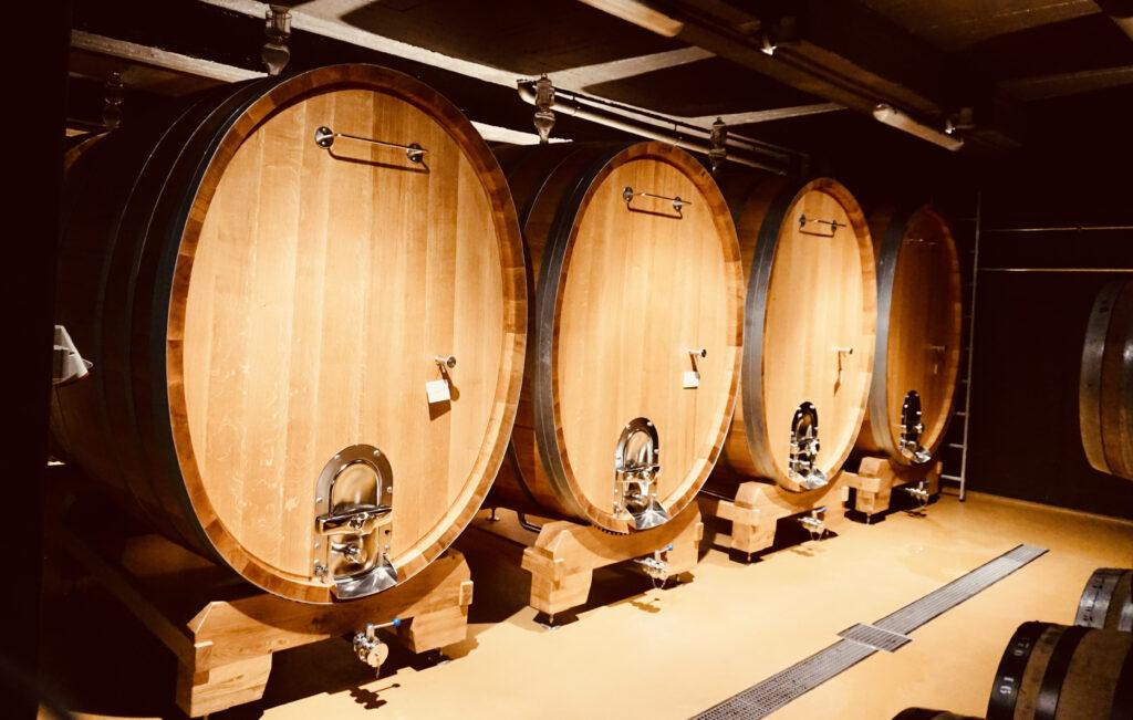 Vier große Holzfässer Wein bei Bernard Massard für die Produktion von Cremant