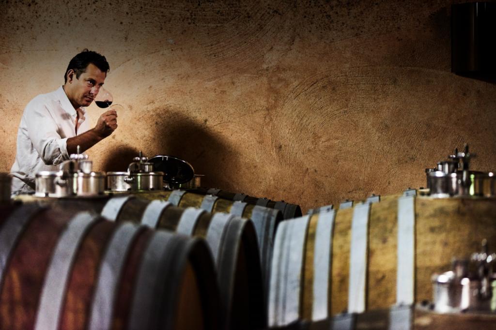 Philipp Grassl steht in seinem Weinkeller bei seinen Weinfässern und riecht in ein Rotweinglas.