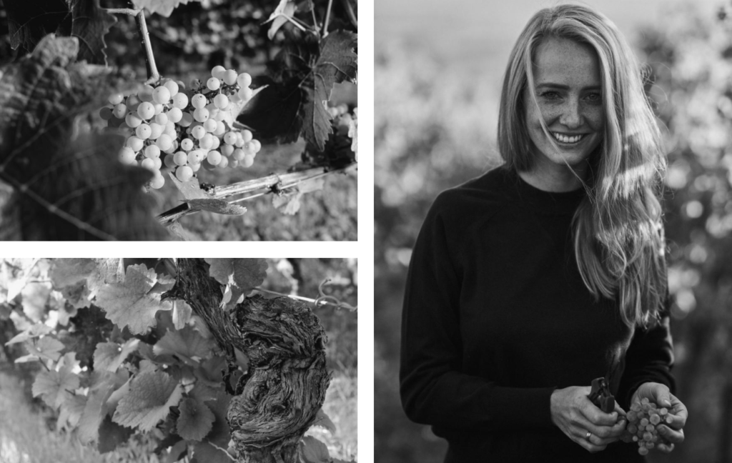 Jungwinzerin Juliane Eller im Weinberg in Rheinhessen liefert die Weine für die Art & Wine Box.
