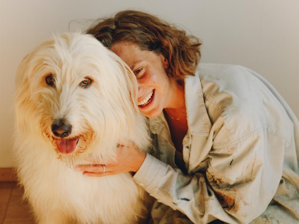 Emma Ferrer with her dog